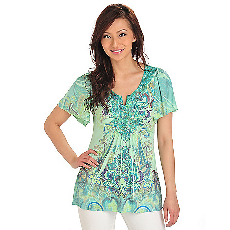 712-032 - One World Micro Jersey Knit Flutter Sleeved Lace Notch Neck Tunic Top