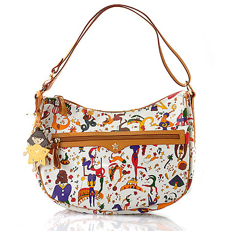 712-074 - Piero Guidi Coated Canvas Magic Circus Collection Hobo Handbag