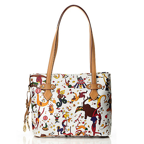 712-075 - Piero Guidi Coated Canvas Magic Circus Collection Small Tote Bag