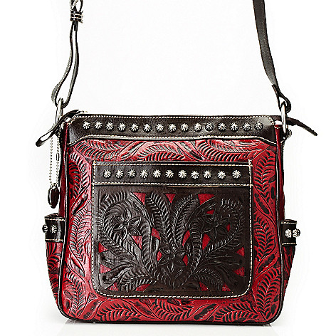 712-082 - American West Hand-Tooled Leather Zip Top Cross Body Bag