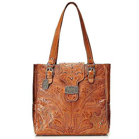 712-084 - American West Hand-Tooled Leather Double Handle Large Day Tote Bag