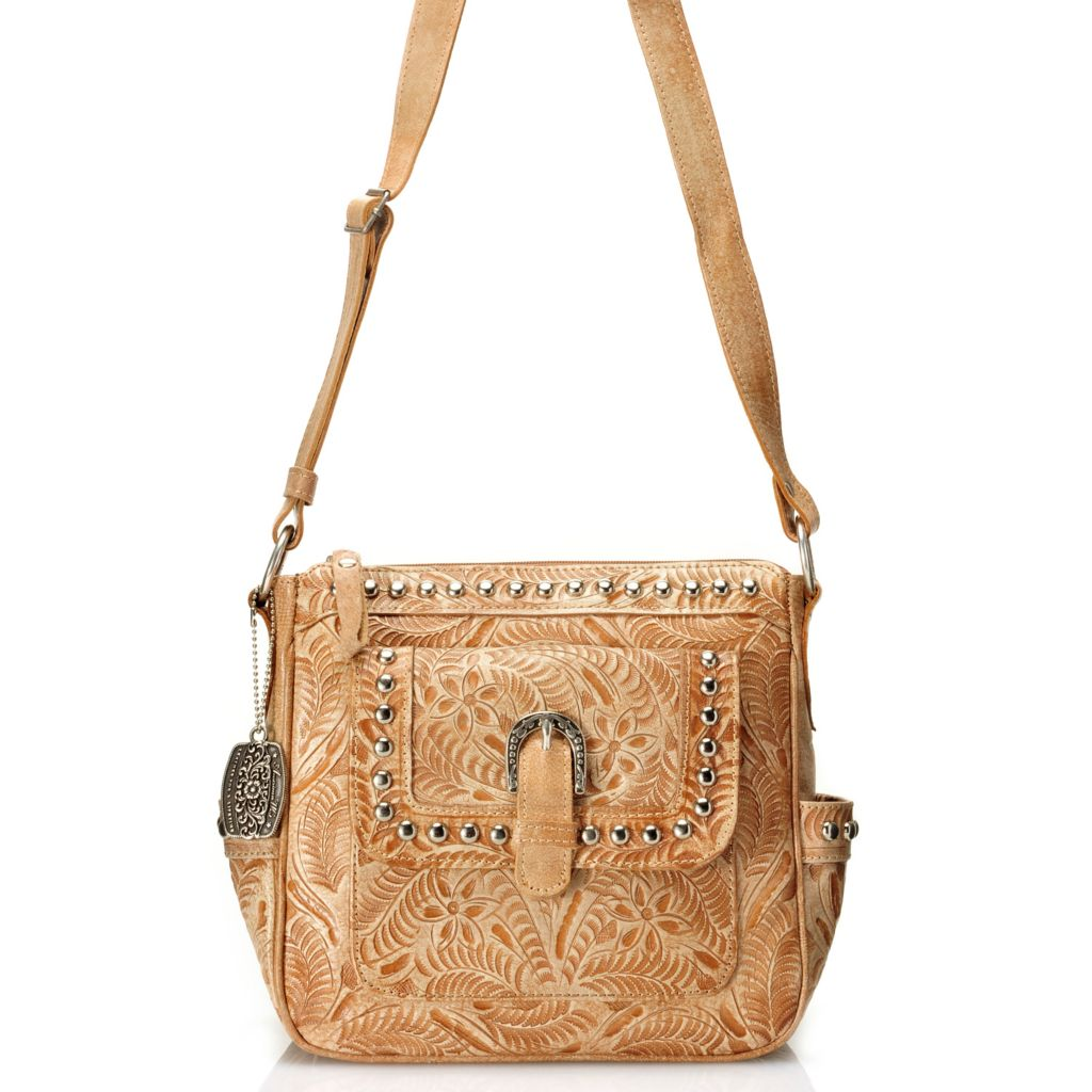 712-090 - American West Hand-Tooled Leather Zip Top Cross Body Bag