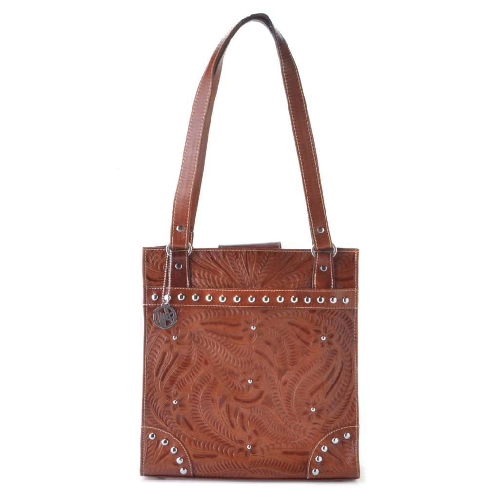 712-091 - American West Hand-Tooled Leather Studded Tote Bag