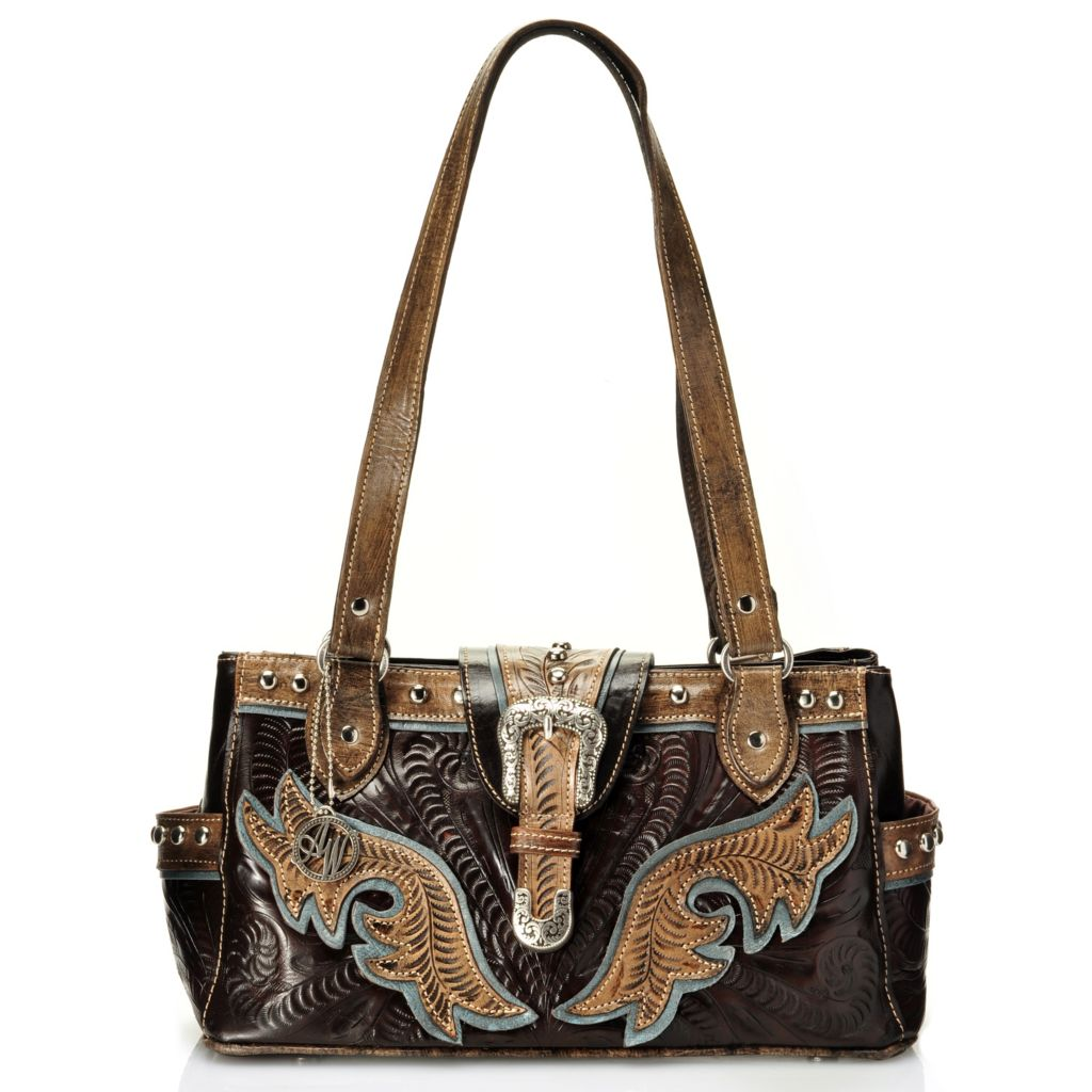 712-092 - American West Hand Tooled Leather Multi Compartment Tote Bag