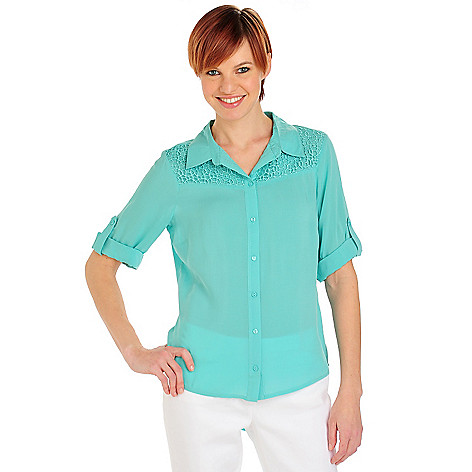 712-095 - One World Challis Roll Tab Sleeve Lace Yoke Button Down Shirt