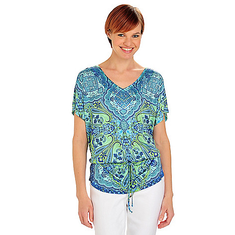 712-100 - One World Micro Jersey Dolman Sleeved Bling V-Neck Tie Peplum Top