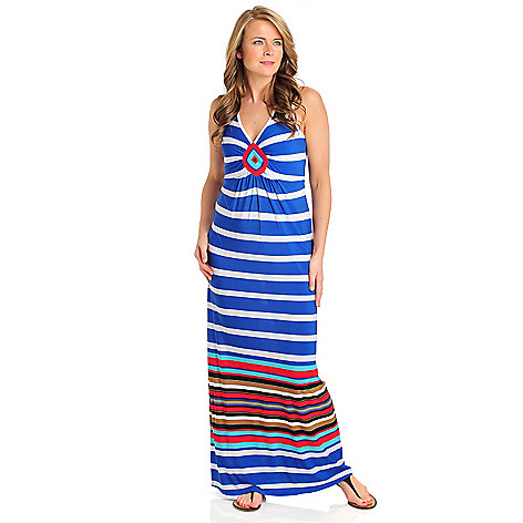 712-101 - One World Matte Jersey Sleeveless Diamond Detail Striped Maxi Dress