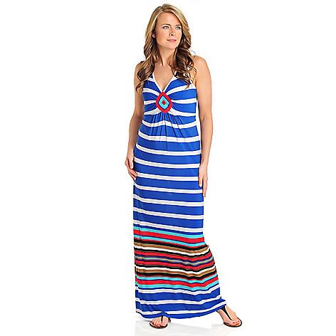 712-101 - One World Matte Jersey Sleeveless Diamond Detail Striped Maxi Dress