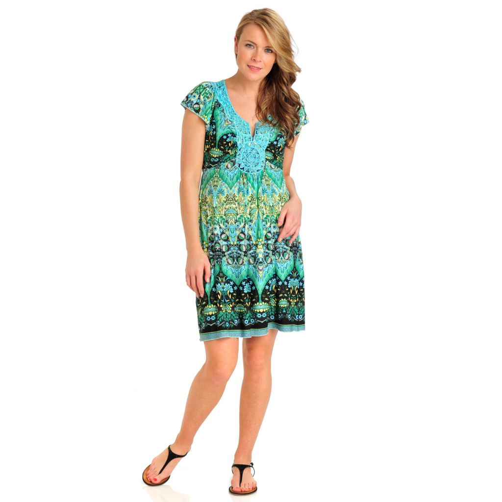 712-102 - One World Matte Jersey Flutter Sleeved Crochet Notch Neck Flip Flop Dress