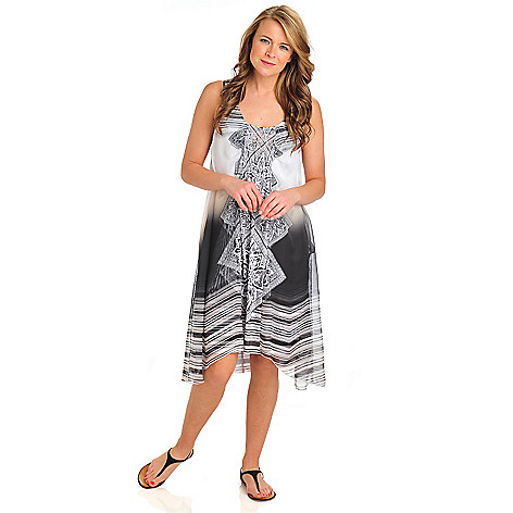 712-104 - One World Micro Jersey Chiffon Overlay Bling Front Flip Flop Dress