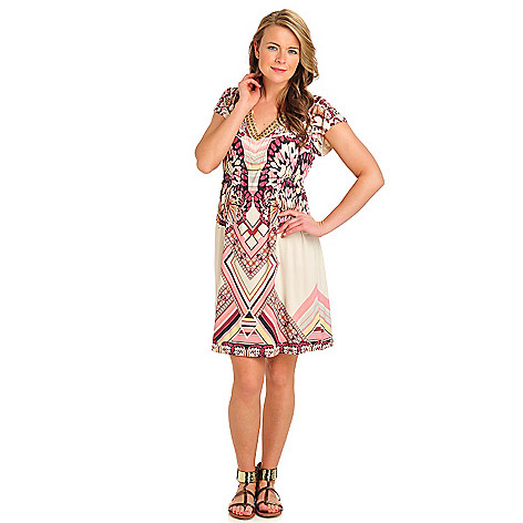 712-106 - One World Micro Jersey Flutter Sleeved Glass Bead V-Neck Flip Flop Dress