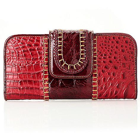 712-121 - Madi Claire ''Rachelle'' Croco Embossed Leather Flap-over Wallet