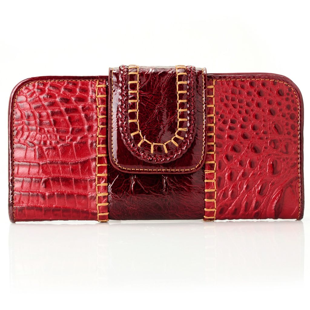 712-121 - Madi Claire Croco Embossed Leather Flap-over Wallet