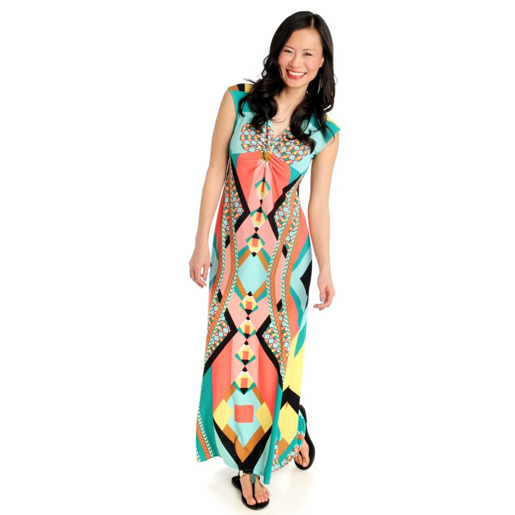 712-122 - Love, Carson by Carson Kressley Printed Knit Knotted Front Maxi Dress