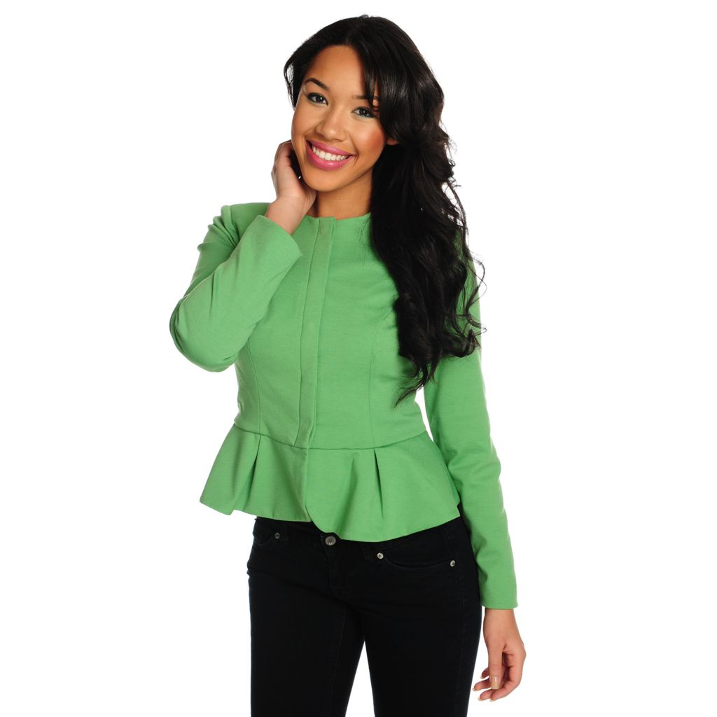 712-128 - WD.NY Stretch Ponte Collarless Snap Closure Peplum Jacket