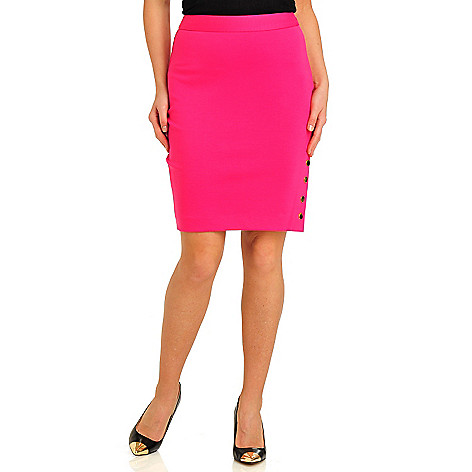 712-130 - WD.NY Stretch Ponte Snap Vent Side Zip Skirt