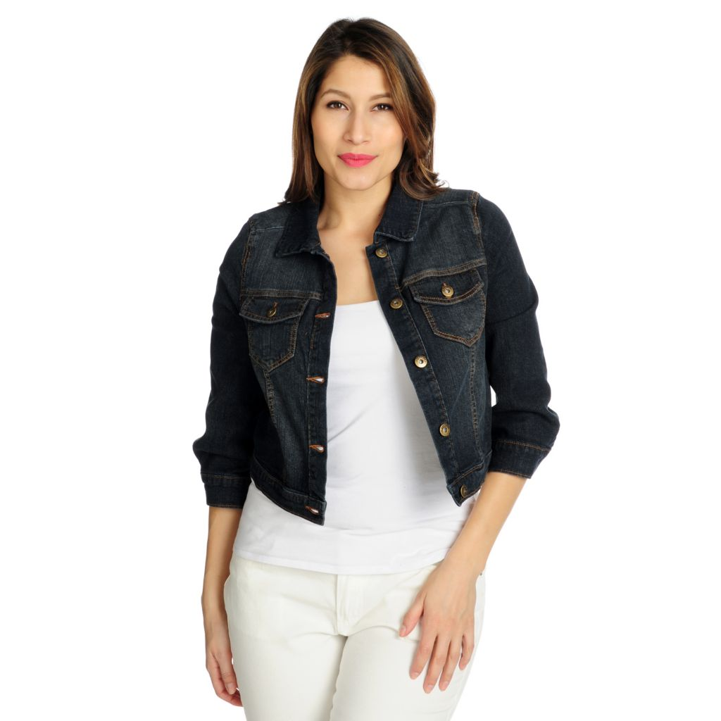 712-131 - One World Stretch Denim 3/4 Sleeved Cropped Jean Jacket