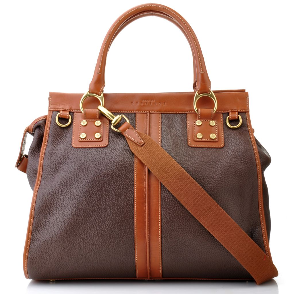 712-132 - PRIX DE DRESSAGE Leather Double Handle Top Framed Satchel w/ Shoulder Strap