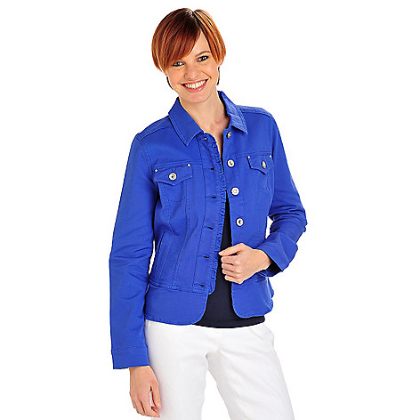 712-159 - OSO Casuals Stretch Twill Rhinestone Button Ruffle Placket Peplum Jean Jacket
