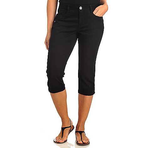 712-162 - Baccini Stretch Twill Five-Pocket Zip Hem Capri Pants