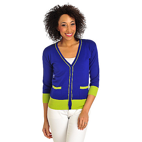 712-163 - Geneology Fine Gauge Knit Color Block Trim V-Neck Cardigan Sweater