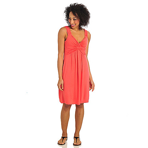 712-166 - Geneology Stretch Knit Sleeveless Twist Bodice Flip Flop Dress