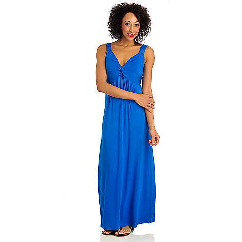 712-167 - Geneology Stretch Knit Sleeveless Twist Front Maxi Dress