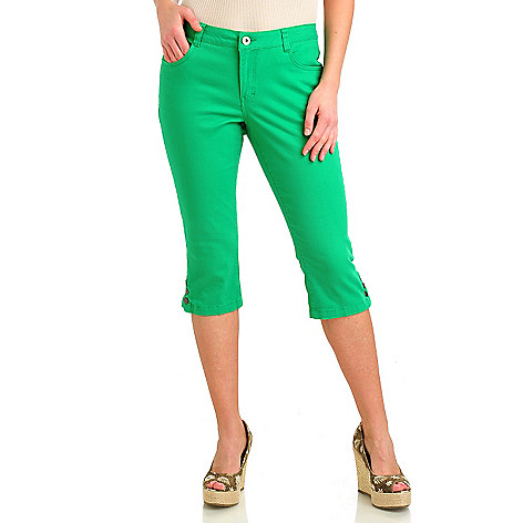 712-187 - OSO Casuals Stretch Twill Five-Pocket Snap Hem Capri Pants