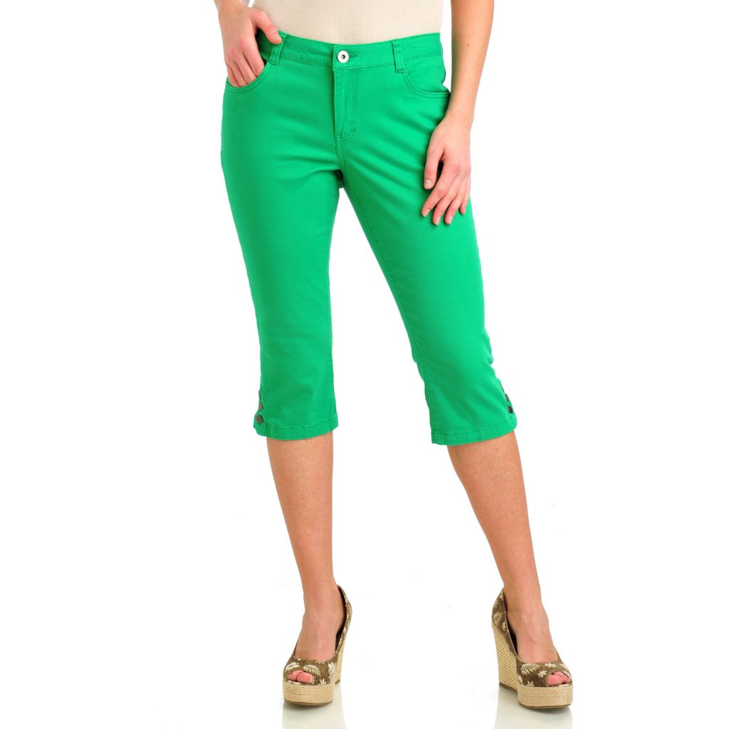 712-187 - OSO Casuals Stretch Twill Five-Pocket Snap Hem Capri Pants
