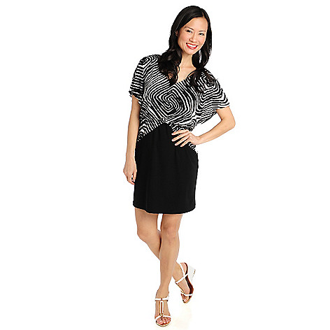 712-329 - aDRESSing WOMAN Stretch Knit Dolman Sleeved V-Neck Blouson Dress
