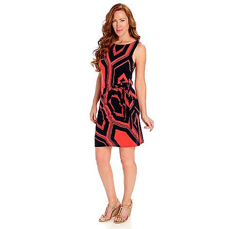 712-332 - aDRESSing WOMAN Stretch Knit Sleeveless Cinched Side-Tie Shift Dress