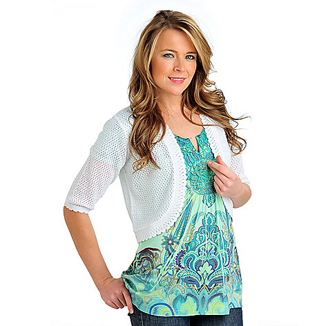 712-337 - OSO Casuals Open Work Knit Elbow Sleeved Scalloped Edge Sweater Shrug