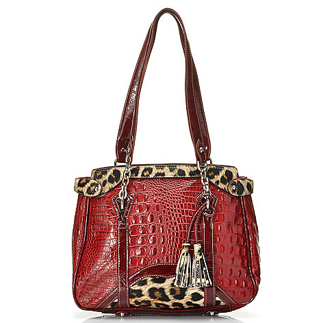 712-340 - Madi Claire Croco Embossed Leather ''Alexandra'' Tasseled Tote Bag