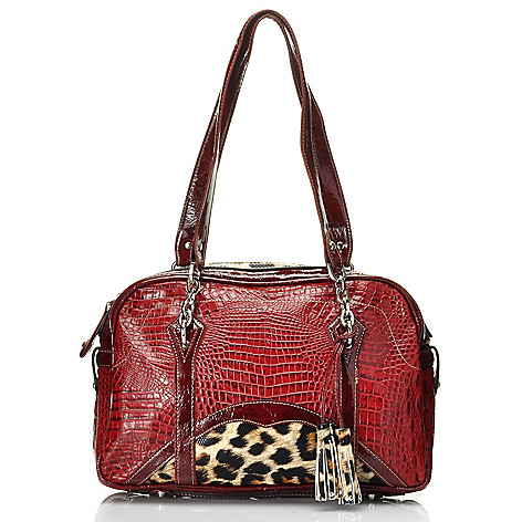 712-342 - Madi Claire Croco Embossed Leather & Leopard Print Tasseled Satchel