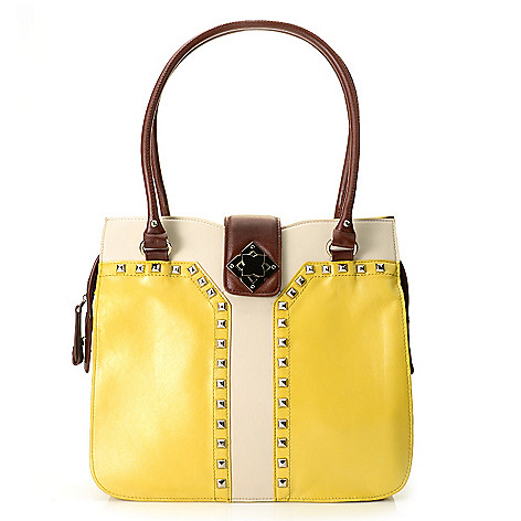 712-348 - Madi Claire Smooth Leather Double Handle Studded Turn Lock Tote Bag