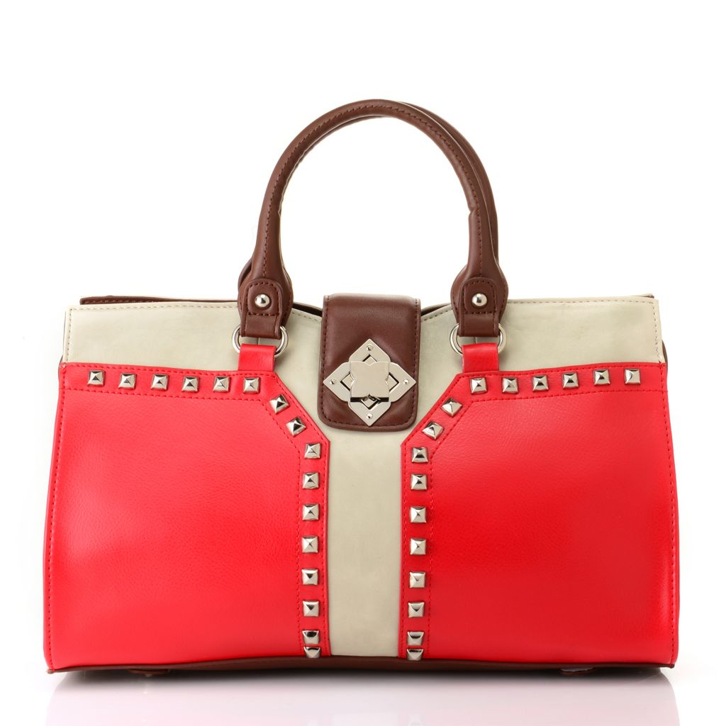 "712-350 - Madi Claire Smooth Leather ""Erin"" Studded Satchel w/ Cross Body Strap"