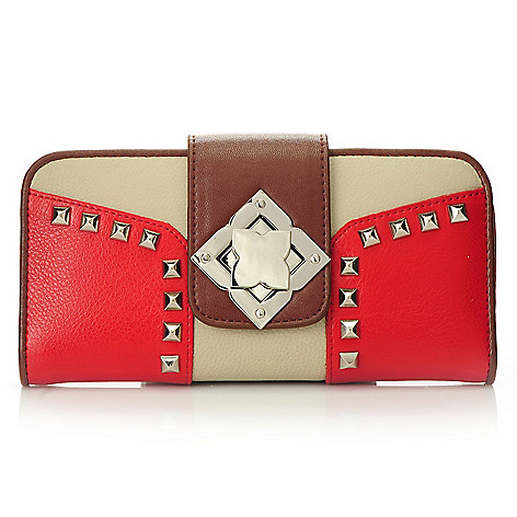 712-351 - Madi Claire ''Erin'' Smooth Leather Color Block Flap-Over Studded Turn Lock Wallet