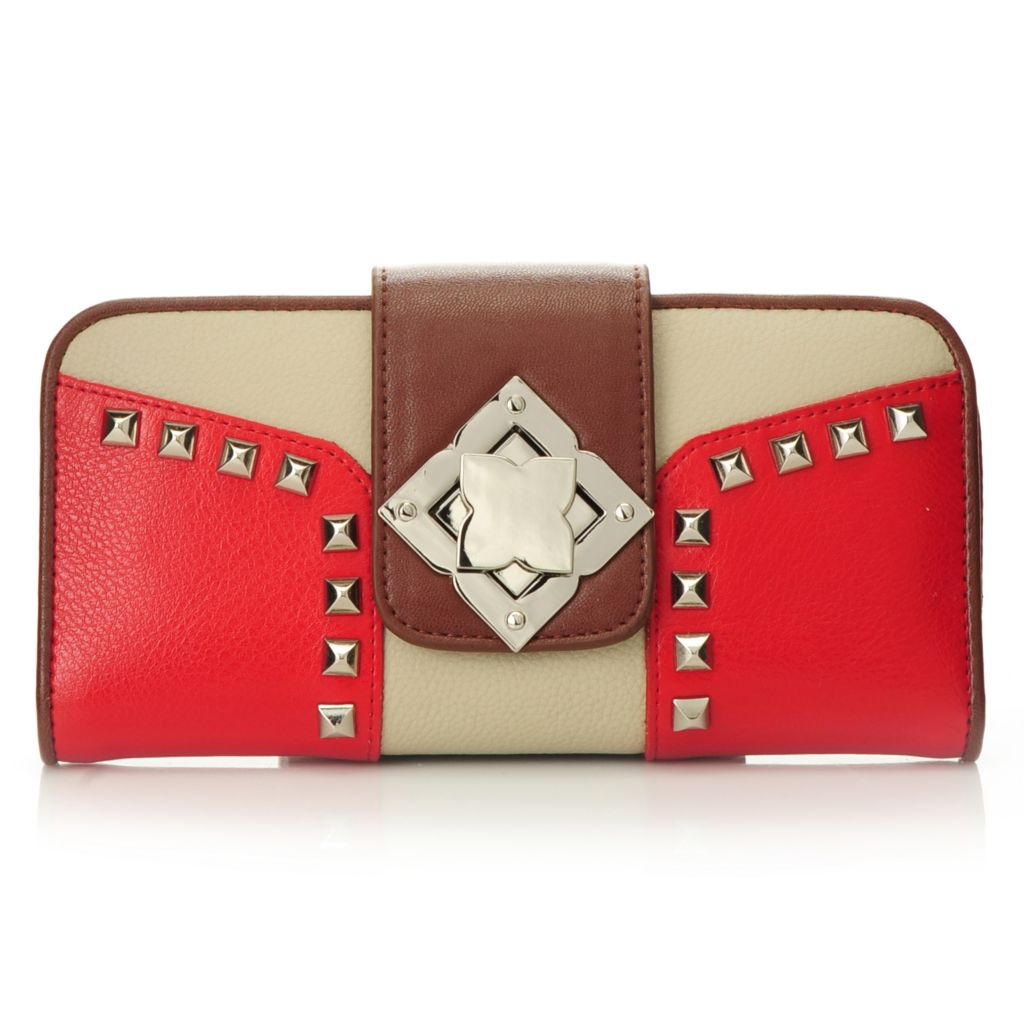 712-351 - Madi Claire Smooth Leather Color Block Flap-Over Studded Turn Lock Wallet