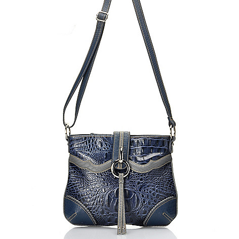 712-353 - Madi Claire Croco Embossed Leather ''Ann'' Cross Body Bag