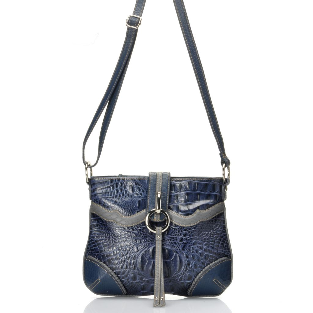 "712-353 - Madi Claire Croco Embossed Leather ""Ann"" Cross Body Bag"
