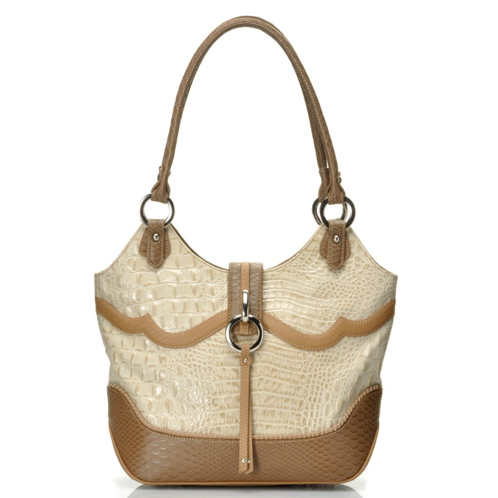 "712-354 - Madi Claire Croco Embossed Leather ""Ann"" Zip Top Shoulder Bag"