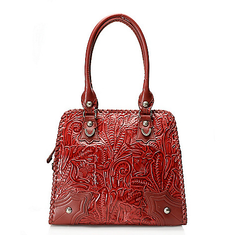 712-359 - Madi Claire Tool Embossed Leather ''Missy'' Double Handle Tote Bag