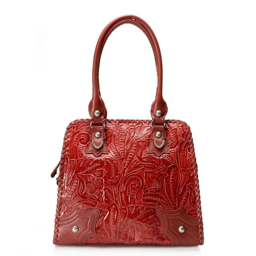 712-359 - Madi Claire Tool Embossed Leather Double Handle Tote Bag
