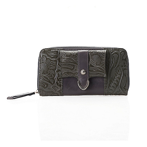 712-360 - Madi Claire ''Missy'' Tool Embossed Leather Zip Around Wallet
