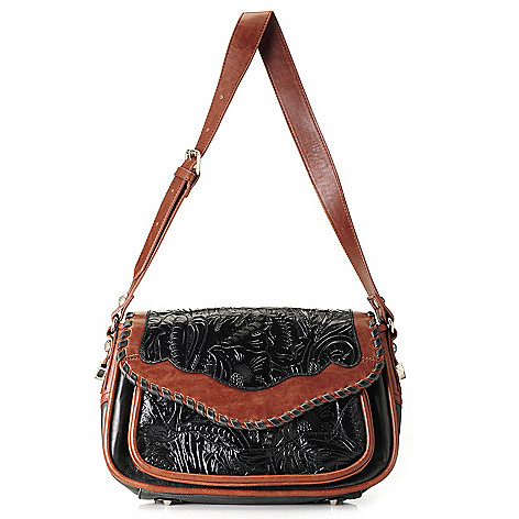 712-361 - Madi Claire ''Missy'' Tool Embossed Leather Flap-over Shoulder Bag