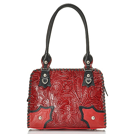 712-362 - Madi Claire Tool Embossed Leather ''Missy'' Double Handle Satchel