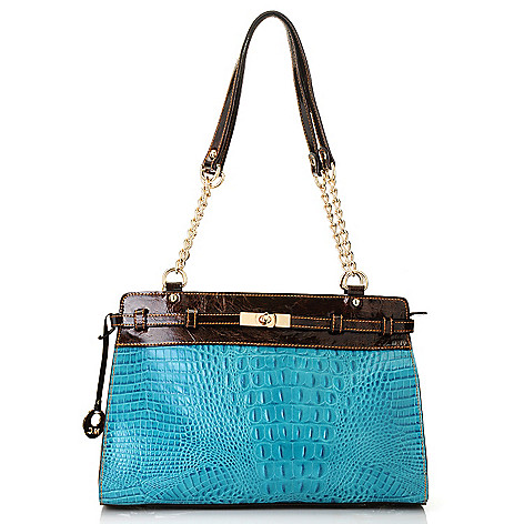 712-365 - Madi Claire Croco Embossed Leather ''Brittany'' Satchel