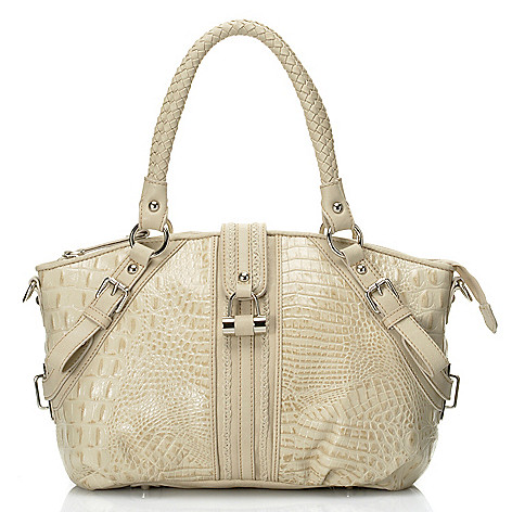 712-367 - Madi Claire Croco Embossed Leather ''Annette'' Satchel