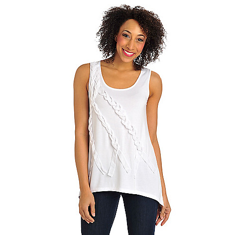 712-370 - Kate & Mallory Stretch Knit Woven Braid Detail Sharkbite Hem Tank Top