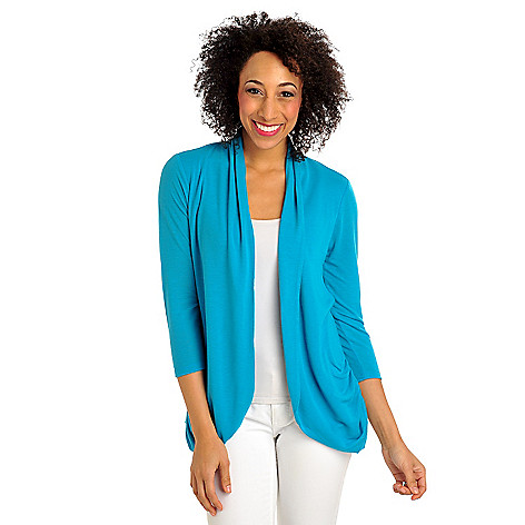 712-372 - Kate & Mallory Stretch Knit 3/4 Sleeved Ruched Tie Back Open Cardigan